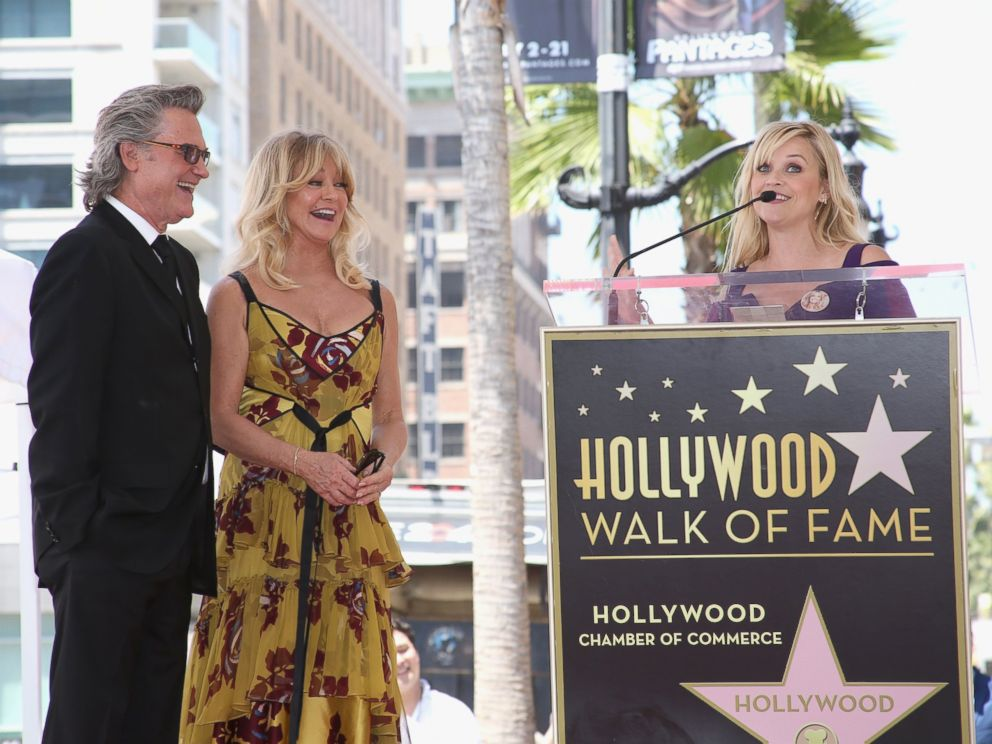 PHOTO: Reese Witherspoon speaks as Goldie Hawn and Kurt Russell are honored with a Star On the Hollywood Walk of Fame, May 4, 2017 in Hollywood, California.