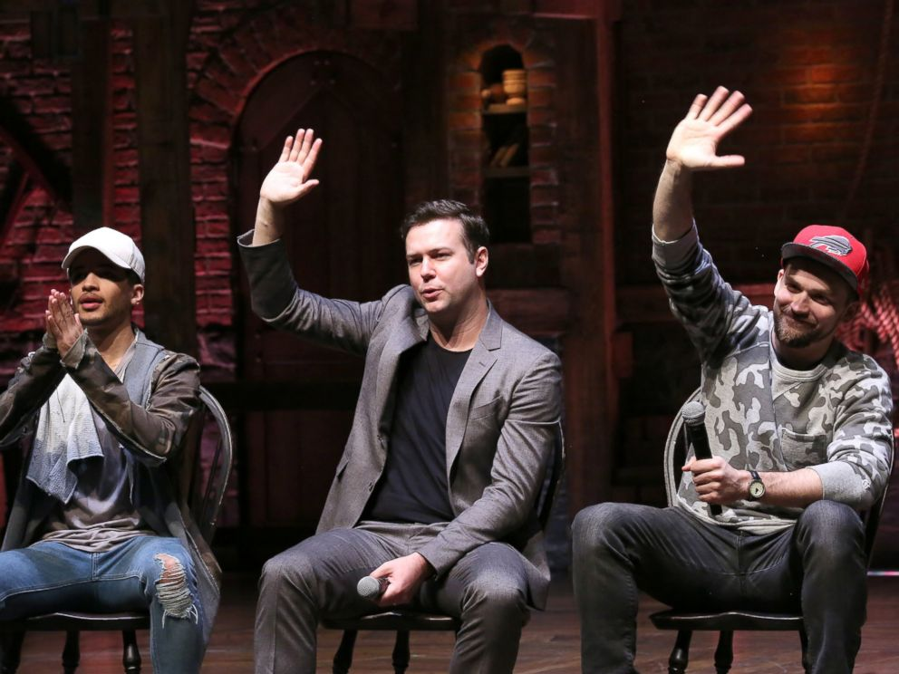 PHOTO: Jordan Fisher, Taran Killam and Neil Haskell greet students during a cast Q & A before a High School student matinee performance of Hamilton at the Richard Rodgers Theatre, Feb. 8, 2017, in New York.