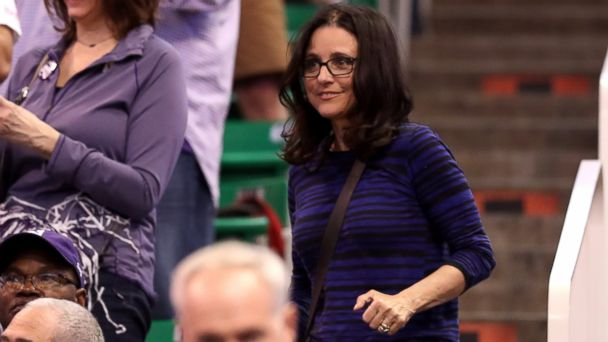 PHOTO: Julia Louis-Dreyfus looks on as the Northwestern Wildcats play the Vanderbilt Commodores during the first round of the 2017 NCAA Men's Basketball Tournament at Vivint Smart Home Arena, March 16, 2017, in Salt Lake City, Utah.