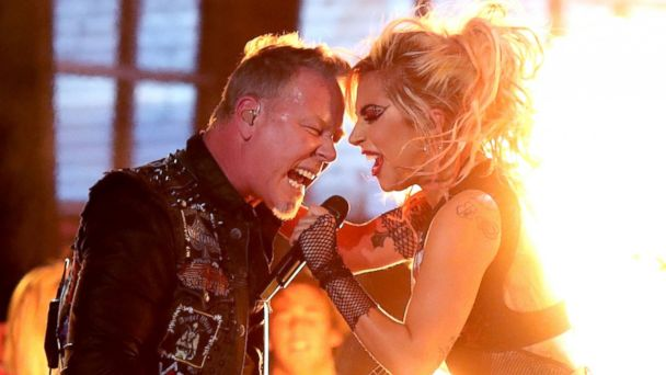 PHOTO: James Hetfield of Metallica and Lady Gaga perform during The 59th Grammy Awards at Staples Center on Feb. 12, 2017 in Los Angeles.