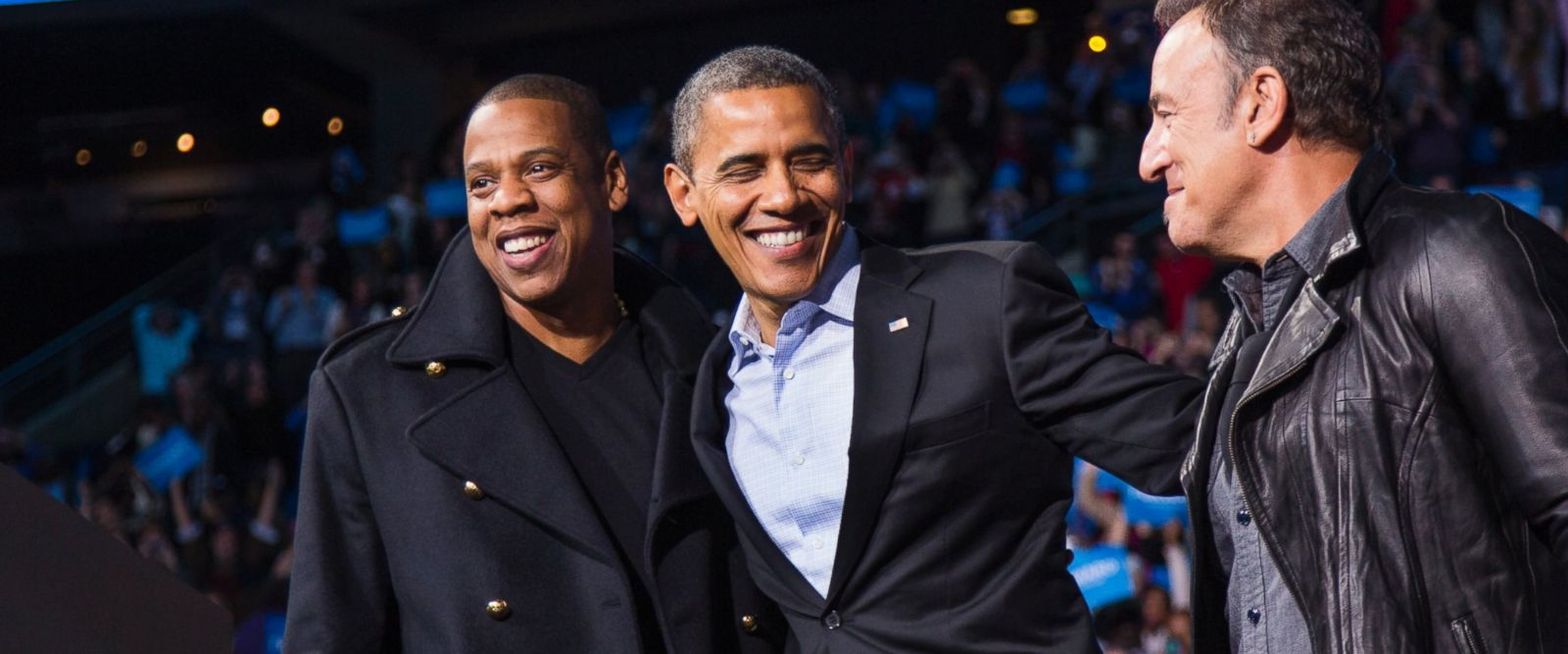 PHOTO: Barack Obama stands on stage with rapper Jay-Z and musician Bruce Springsteen at an election campaign rally in Columbus, Ohio.