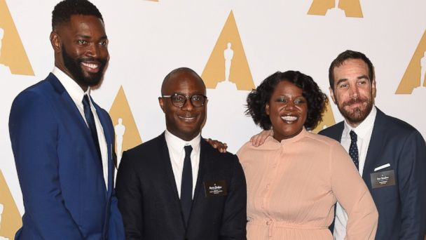 PHOTO: Screenwriter Tarell Alvin McCraney, Director Barry Jenkins, film editors Joi McMillon and Nat Sanders attend the 89th Annual Academy Awards Nominee Luncheon at The Beverly Hilton Hotel on Feb. 6, 2017 in Beverly Hills, Calif.