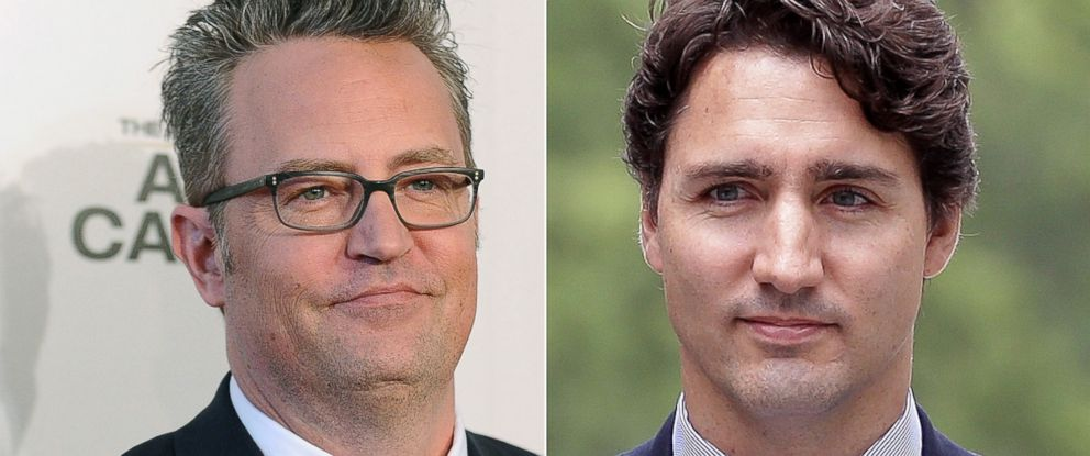 PHOTO: Left, actor Matthew Perry at a premiere in Beverly Hills, Calif, March 2017 and right, Canadian Prime Minister Justin Trudeau in Japan in March 2017.