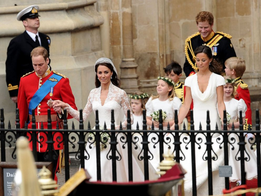 PHOTO: Prince William Duke of Cambridge (L) and Catherine Duchess of Cambridge (2nd to L) exit Westminster Abbey after their Royal Wedding followed by Maid of Honour Pippa Middleton and Best Man Prince Harry, April 29, 2011, in London.