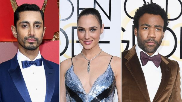 PHOTO: Riz Ahmed attends the Academy Awards, Feb. 26, 2017, in Hollywood, Calif. Gal Gadot attends the Golden Globe Awards, Jan. 8, 2017, in Beverly Hills, Calif. Donald Glover attends the Golden Globe Awards, Jan. 8, 2017 in Beverly Hills, Calif.