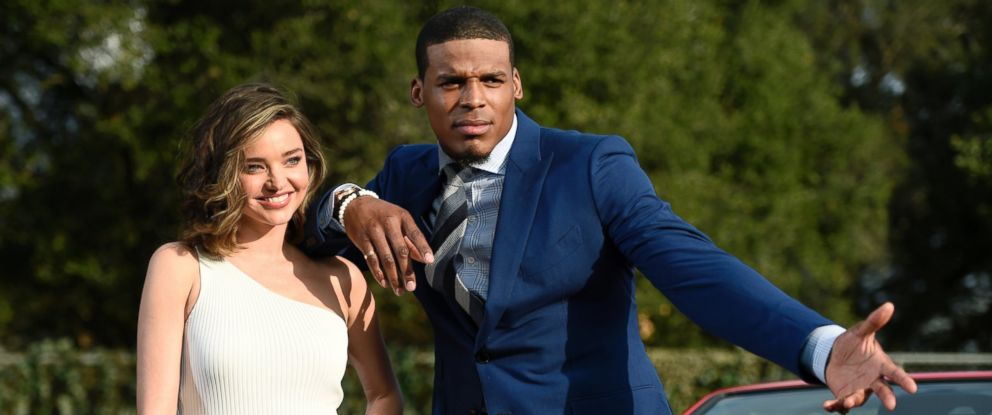 PHOTO: This Jan. 13, 2017 photo shows model Miranda Kerr, left, and NFL player Cam Newton in a Buick commercial for this years Super Bowl. The commercial is set to air during the first quarter.
