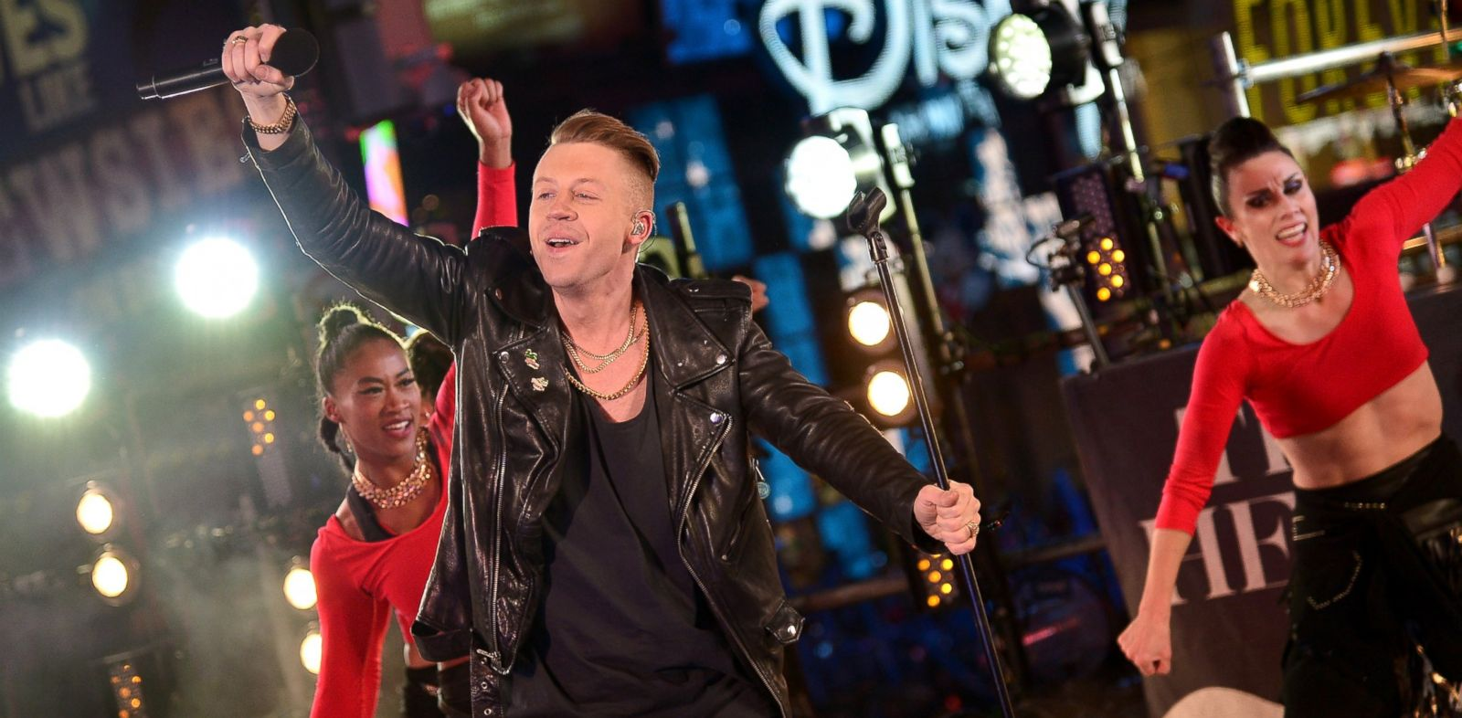 PHOTO: Macklemore and Ryan Lewis perform at Dick Clarks New Years Rockin Eve with Ryan Seacrest 2014 on December 31, 2013 in New York, New York.