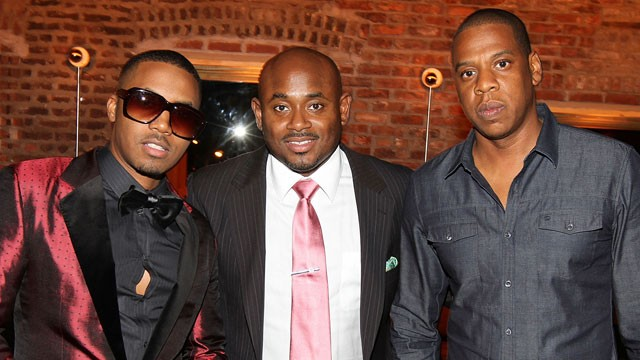 PHOTO: Nas, Steve Stoute and Jay-Z attend Nas' 38th birthday, Sept. 14, 2011 in New York City.