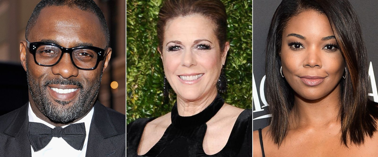 PHOTO: Idris Elba attends the 45th NAACP Image Awards, Feb. 22, 2014. Rita Wilson attends the 69th Annual Tony Awards, June 7, 2015 in New York. Gabrielle Union attends the72nd Annual Golden Globe Awards Post-Party, Jan. 11, 2015, in Beverly Hills.