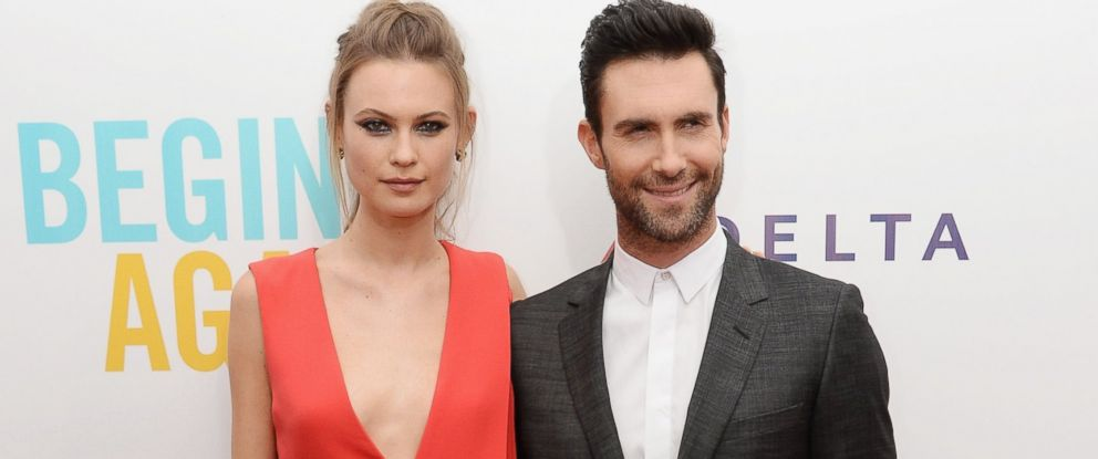 "PHOTO: Model Behati Prinsloo and Adam Levine attend the ""Begin Again"" premiere at SVA Theater on June 25, 2014 in New York City."