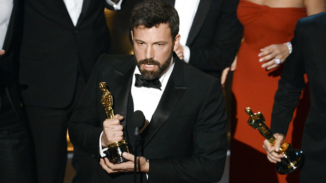"PHOTO: Actor/producer/director Ben Affleck accepts the Best Picture award for ""Argo"" onstage during the Oscars held at the Dolby Theatre on February 24, 2013 in Hollywood, California."