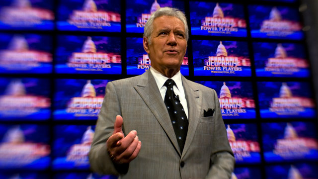 PHOTO: Alex Trebek poses on the set of his game show Jeopardy on April 21, 2012.