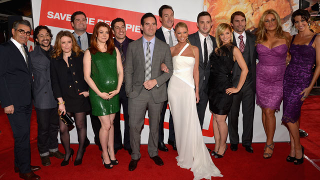 PHOTO: Actors Eugene Levy, Thomas Ian Nicholas, Natasha Lyonne, Director Jon Hurwitz, actors Alyson Hannigan, Jason Biggs, Director Hayden Schlossberg, actors Tara Reid, Eddie Kaye Thomas, Mena Suvari, Seann William Scott, Jennifer Coolidge and Shannon El