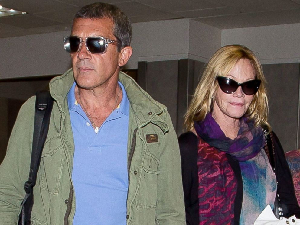 PHOTO: Antonio Banderas and Melanie Griffith are seen at LAX airport on March 16, 2014 in Los Angeles, Calif.