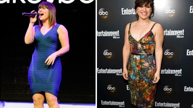 PHOTO: Singer Kelly Clarkson performs at the Las Vegas Convention Center on January 9, 2012 in Las Vegas, Nevada, left, and is seen again with a slimmer figure at the ABC Upfronts on May 15, 2012.