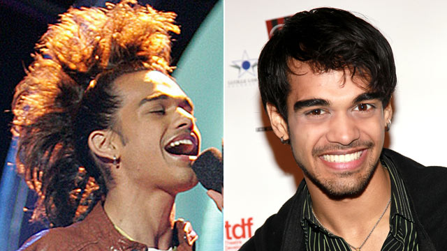 PHOTO: Sanjaya Malakar performs on &quot;American Idol&quot;, left, in 2007 and again in 2011