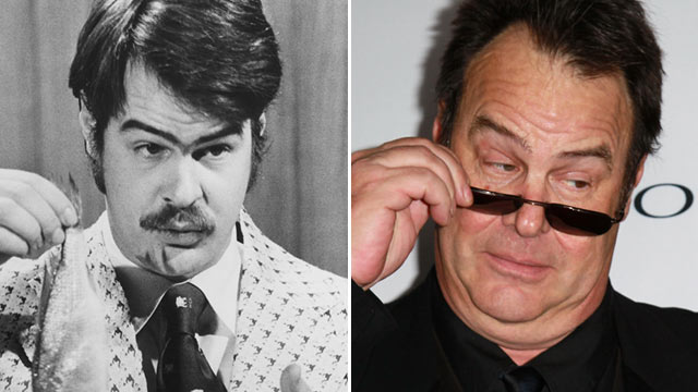 PHOTO: Dan Aykroyd prepares to demonstrate the 'Super Bass-O-Matic' on a sketch from 'Saturday Night Live', 1976.|Aykroyd on November 18, 2011 in Santa Barbara, Calif.