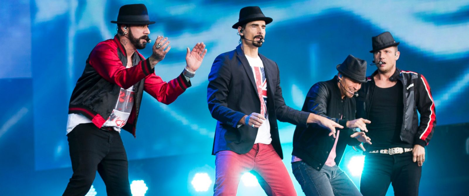 PHOTO: AJ McLean, Kevin Richardson, Brian Littrell and Nick Carter of The Backstreet Boys perform on stage at Hyde Park in London, England on July 6, 2014.