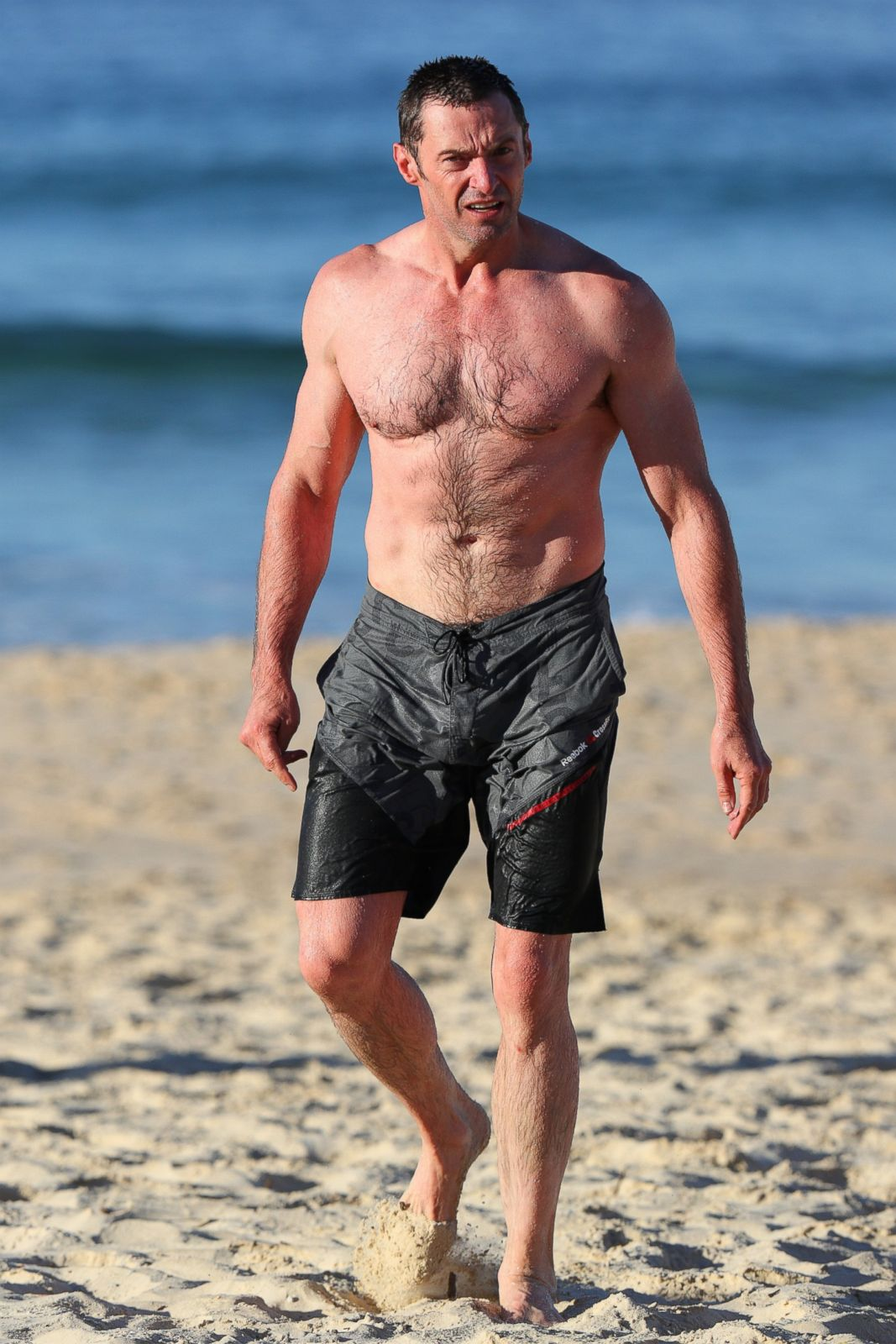hugh jackman hits the beach in australia picture