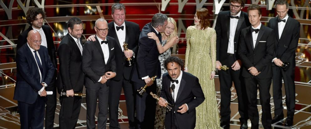 PHOTO: Director Alejandro Gonzalez Inarritu with cast and crew accept the Best Picture award for Birdman onstage during the 87th Annual Academy Awards at Dolby Theatre on Feb. 22, 2015 in Hollywood, California.