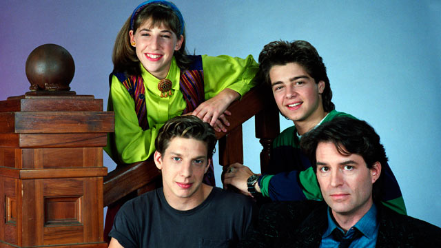 PHOTO: Blossom, Season 1 Cast: (clockwise from top) Mayim Bialik as Blossom Russo, Joseph Lawrence as Joey Russo, Ted Wass as Nick Russo, Michael Stoyanov as Anthony Russo.