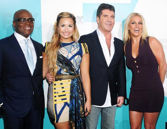 L.A. Reid, Demi Lovato, Simon Cowell and singer Britney Spears