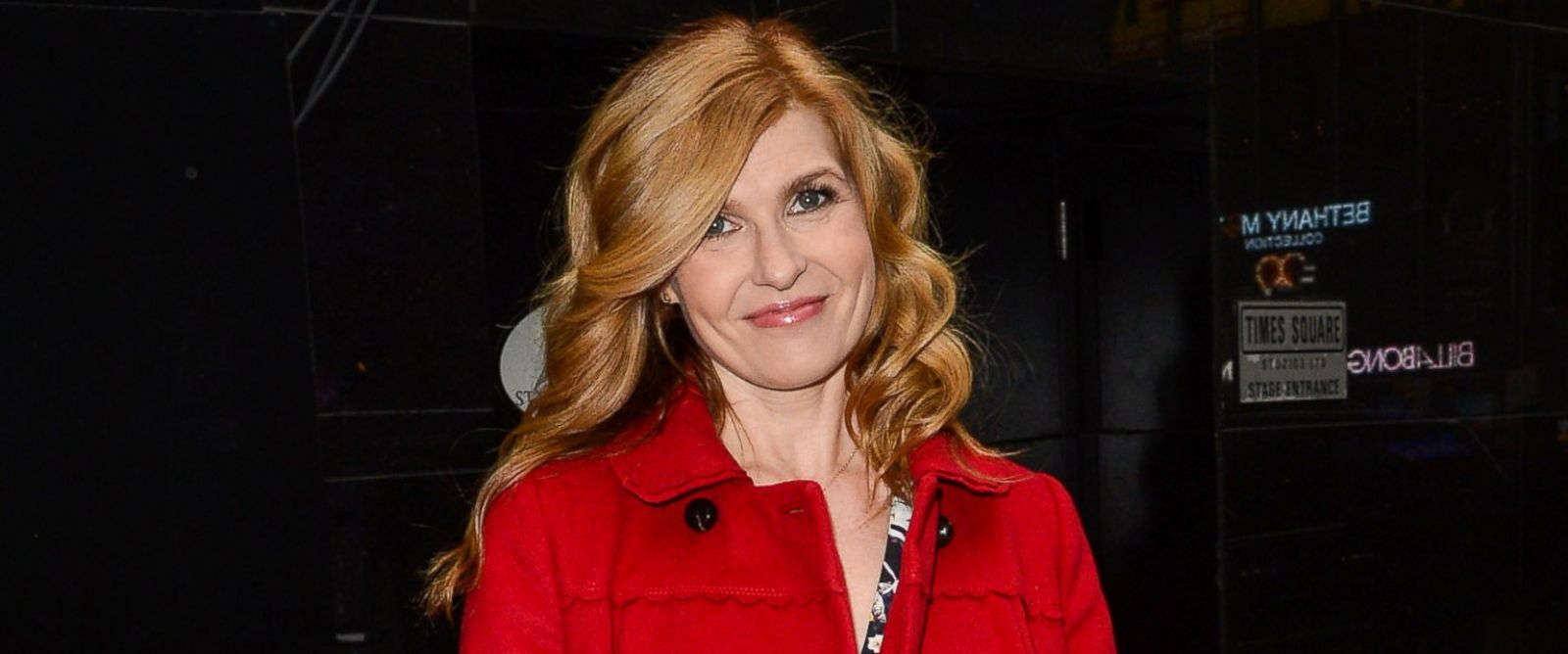 "PHOTO: Actress Connie Britton leaves the ""Good Morning America"" taping at the ABC Times Square Studios on April 2, 2014 in New York City."