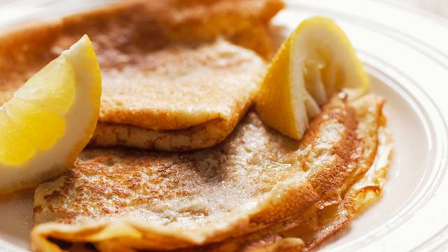 PHOTO: Crepes Suzette with lemon and sugar are shown here in this undated stock photo.