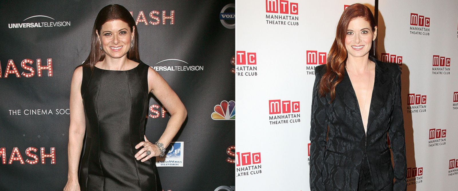 """PHOTO: Debra Messing, left, attending the premiere of """"Smash"""" in New York City on Jan. 26, 2012 and right, attending the Broadway opening of """"Outside Mullingar"""" on Jan. 23, 2014 in New York."""