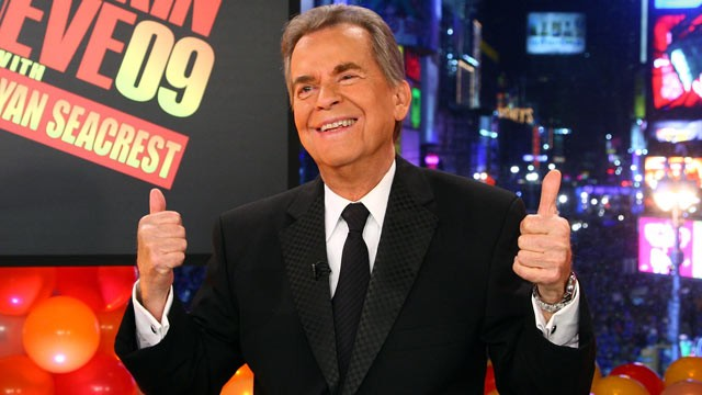 PHOTO: Host Dick Clark onstage during Dick Clark's New Year's Rockin' Eve 2009 With Ryan Seacrest, Dec. 31, 2008 in New York City.