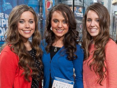 PHOTO: Jessa Duggar, Jinger Duggar, and Jill Duggar are seen in a television studio in Times Square on March 11, 2014 in New York City.