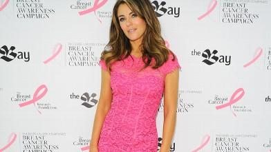 PHOTO: Elizabeth Hurley, spokesmodel for the Estee Lauder Companies' Breast Cancer Awareness Campaign, visits The Bay Queen Street on Oct. 3, 2012, in Toronto, Canada.