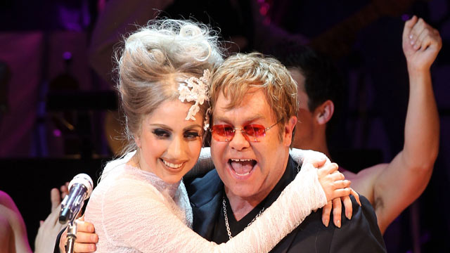 PHOTO: Lady Gaga and Elton John perform on stage during the Almay concert to celebrate the Rainforest Fund's 21st birthday on May 13, 2010 in New York.