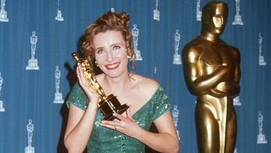 "PHOTO: Emma Thompson is seen in this March 29, 1993 file photo after winning an Oscar for her role  in ""The Remains of the Day""."