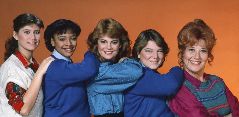 PHOTO: Nancy McKeon as Jo Polniaczek, Kim Fields as Tootie Ramsey, Lisa Whelchel as Blair Warner, Mindy Cohn as Natalie Green, Charlotte Rae as Edna Garrett are seen in this 1983 cast photo for The Facts of Life.