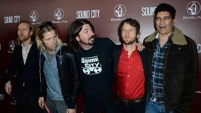 "PHOTO: Musicians Nate Mendel, Taylor Hawkins, Dave Grohl, Chris Shiflett, and Pat Smear of Foo Fighters arrive at the Premiere Of ""Sound City"" at ArcLight Cinemas Cinerama Dome on January 31, 2013 in Hollywood, Calif."