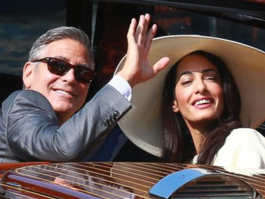 PHOTO: George Clooney and Amal Alamuddin sighted on the way to their civil wedding at Canal Grande on Sept. 29, 2014 in Venice, Italy.