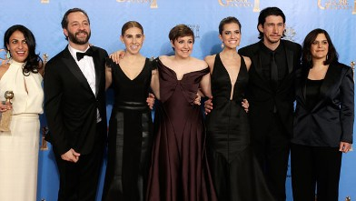 "PHOTO: The cast of ""Girls"" pose in the press room at the 70th Annual Golden Globe Awards, Jan.13, 2013, in Beverly Hills, Calif."