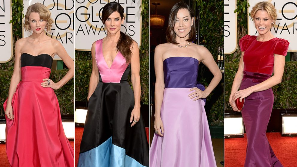 PHOTO: Taylor Swift, Sandra Bullock, Aubrey Plaza and Julie Bowen appear at the Golden Globes on Jan. 12, 2014 in Los Angeles, Calif.