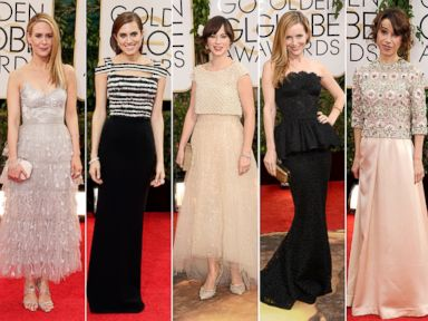 PHOTO: Actresses Sarah Paulson, Allison Williams, Zooey Deschanel, Leslie Mann and Sally Hawkins at the Golden Globes Awards on Jan. 12, 2014 in Los Angeles, Calif.
