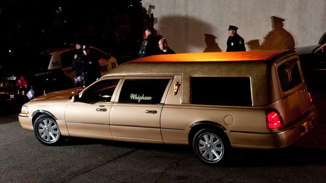 PHOTO: Whitney Houston's body arrives at Whigham Funeral Home ahead of her funeral in New Jersey on Feb. 13, 2012 in Newark, New Jersey.