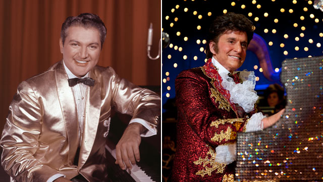 "PHOTO: American pianist and entertainer Liberace sitting at a piano, wearing a gold lame suit in the 1950s, while right, actor Michael Douglas depicts Liberace in the 2013 film ""Behind the Candelabra""."