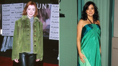PHOTO: Alyson Hannigan, left, during Flaunt's Magazine One Year Anniversary Party at The Sunset Room in Hollywood, Calif. in 1999, and right, at the &quot;How I Met Your Mother&quot; panel held at the Leonard H. Goldenson Theatre on January 27th, 2009 in North Holl
