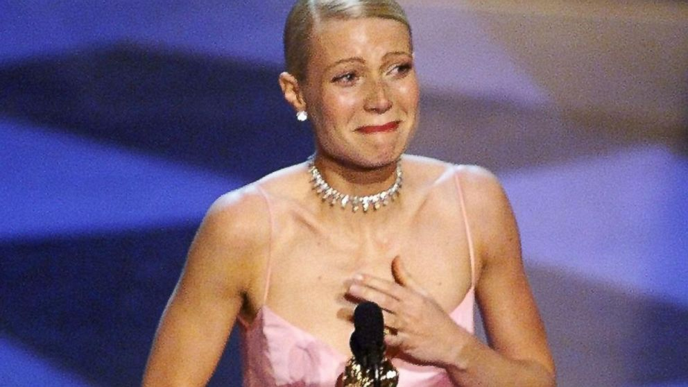 "PHOTO: Gwyenth Paltrow cries as she receives the Oscar for Best Actress for her role in ""Shakespeare in Love"" during the 71st Academy Awards on March 21, 1999 in Los Angeles."