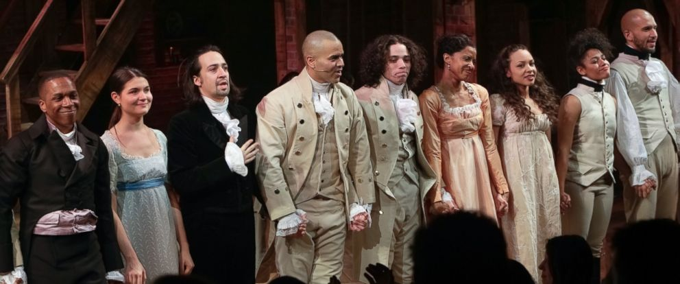 """PHOTO:The cast of """"Hamilton"""" is seen taking a curtain call during the opening night celebration at The Public Theater, Feb. 17, 2015, in New York."""