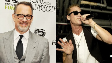 PHOTO: Tom Hanks, right, is seen at the after party for the 2012 Concert for the Rainforest Fund at The Pierre Hotel on April 3, 2012 while his son, Chester, left, is seen performing under his stage name &quot;Chet Haze&quot; on at Lolla Wknd at The Underground in 