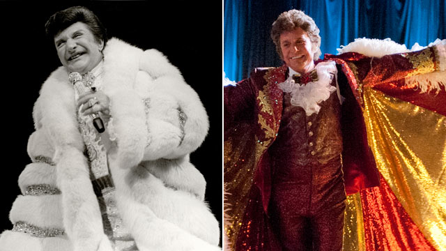 "PHOTO: Liberace on November 22, 1982 in Chicago, Il., while Michael Douglas, right, portrays the performer in the 2013 film, ""Behind the Candelabra""."