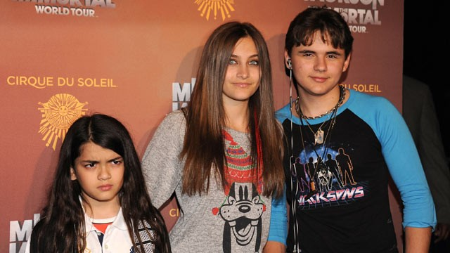 "PHOTO: Blanket Jackson, Paris Jackson and Prince Jackson attend Cirque Du Soleil's Michael Jackson ""The Immortal"" World Tour Opening Night at Staples Center on January 27, 2012 in Los Angeles, California."