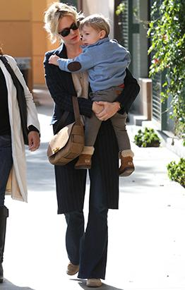 January Jones and Her Mini-Me Share Lunch