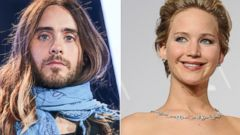 PHOTO: Jared Leto, seen left on March 4, 2014, and Jennifer Lawrence, seen right at the Oscars on March 2, 2014.